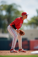 Philadelphia Phillies Juan Herrera (22) during a Florida Instructional League game against the Baltimore Orioles on October 4, 2018 at Ed Smith Stadium in Sarasota, Florida.  (Mike Janes/Four Seam Images)