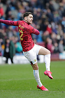 2nd February 2020; Turf Moor, Burnley, Lanchashire, England; English Premier League Football, Burnley versus Arsenal; Robbie Brady of Burnley warms up pre match - Strictly Editorial Use Only. No use with unauthorized audio, video, data, fixture lists, club/league logos or 'live' services. Online in-match use limited to 120 images, no video emulation. No use in betting, games or single club/league/player publications