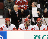 Ryan Santana (BU - 15), Jack Parker (BU - Head Coach), Andrew Glass (BU - 14), Mike Bavis (BU - Associate Head Coach), Matt Nieto (BU - 17) - The visiting Merrimack College Warriors tied the Boston University Terriers 1-1 on Friday, November 12, 2010, at Agganis Arena in Boston, Massachusetts.