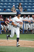 Ben Rodriguez (6) of the Pepperdine Waves runs to first base during a game against the Texas A&M Aggies at Eddy D. Field Stadium on February 26, 2016 in Malibu, California. Pepperdine defeated Texas A&M, 7-5. (Larry Goren/Four Seam Images)