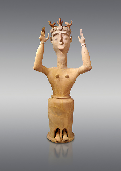 Minoan Postpalatial terracotta  goddess statue with raised arms and bird crown,  Karphi Sanctuary 1200-1100 BC, Heraklion Archaeological Museum, grey background. <br /> <br /> The Goddesses are crowned with symbols of earth and sky in the shapes of snakes and birds, describing attributes of the goddess as protector of nature.