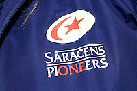 20130324 Copyright onEdition 2013©.Free for editorial use image, please credit: onEdition..Detail of the branding on a Saracens Pioneers' jacket  during the Premiership Rugby match between Saracens and Harlequins at Allianz Park on Sunday 24th March 2013 (Photo by Rob Munro)..For press contacts contact: Sam Feasey at brandRapport on M: +44 (0)7717 757114 E: SFeasey@brand-rapport.com..If you require a higher resolution image or you have any other onEdition photographic enquiries, please contact onEdition on 0845 900 2 900 or email info@onEdition.com.This image is copyright onEdition 2013©..This image has been supplied by onEdition and must be credited onEdition. The author is asserting his full Moral rights in relation to the publication of this image. Rights for onward transmission of any image or file is not granted or implied. Changing or deleting Copyright information is illegal as specified in the Copyright, Design and Patents Act 1988. If you are in any way unsure of your right to publish this image please contact onEdition on 0845 900 2 900 or email info@onEdition.com