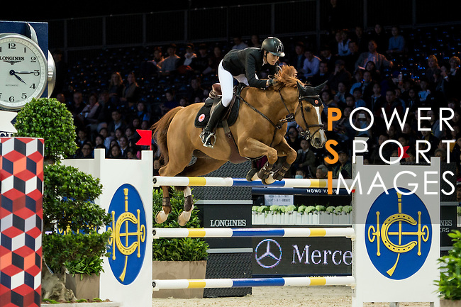 Pilar Lucrecia Cordon on Nuage Bleu competes during competition Table A Against the Clock at the Longines Masters of Hong Kong on 19 February 2016 at the Asia World Expo in Hong Kong, China. Photo by Li Man Yuen / Power Sport Images