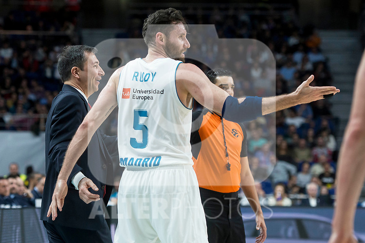 Real Madrid Rudy Fernandez and Brose Bamberg coach Luca Banchi during Turkish Airlines Euroleague match between Real Madrid and Brose Bamberg at Wizink Center in Madrid, Spain. April 06, 2018. (ALTERPHOTOS/Borja B.Hojas)
