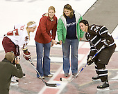 Boston College Hall of Famers Laura Traynham Hannon and Erin Magee pose with Kelli Stack (BC - 16) and Samantha Stortini (Brown - 24) as part of Alumni weekend. - The Boston College Eagles defeated the visiting Brown University Bears 5-2 on Sunday, October 24, 2010, at Conte Forum in Chestnut Hill, Massachusetts.