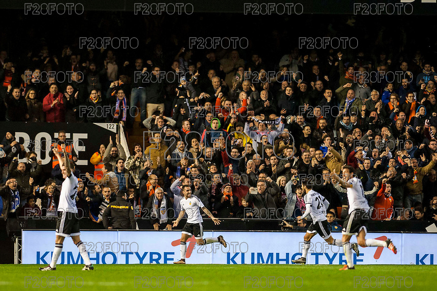 VALENCIA, SPAIN - JANUARY 3: Paco Alcacer celebrating his goal during BBVA LEAGUE match between Valencia C.F. and Real Madrid at Mestalla Stadium on January 3, 2015 in Valencia, Spain
