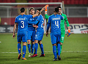 27th March 2018, Karadjorde Stadium, Novi Sad, Serbia; Under 21 International Football Friendly, Serbia U21 versus Italy U21; Players of Italy celebrate their victory after the match