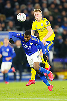 4th March 2020; King Power Stadium, Leicester, Midlands, England; English FA Cup Football, Leicester City versus Birmingham City; Kelechi Iheanacho of Leicester City beats Kristian Pedersen of Birmingham City to a through ball header