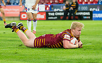 Picture by Allan McKenzie/SWpix.com - 11/05/2018 - Rugby League - Ladbrokes Challenge Cup - Huddersfield Giants v Wakefield Trinity - John Smith's Stadium, Huddersfield, England - Huddersfield's Matty English scores a try against Wakefield.