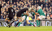 19th November 2016 | IRELAND vs NEW ZEALAND<br /> <br /> Andrew Trimble is tackled by Brodie Retallick during the Autumn Series International clash between Ireland and New Zealand at the Aviva Stadium, Lansdowne Road, Dublin,  Ireland. Photo by John Dickson/DICKSONDIGITAL