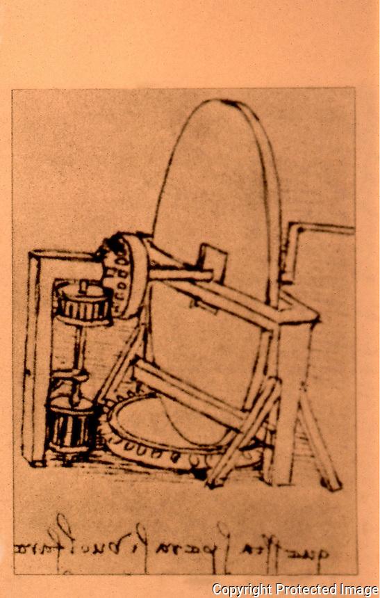 Visual Arts:  Leonardo Drawing--machine for making concave mirror.  Photo '84.