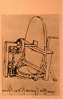 Visual Arts:  Leonardo Drawing--machine for making concave mirror.  Photo '84.
