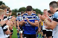 Josh Bayliss of Bath United leads his team off the field after the match. Premiership Rugby Shield match, between Bristol Bears A and Bath United on August 31, 2018 at the Cribbs Causeway Ground in Bristol, England. Photo by: Patrick Khachfe / Onside Images