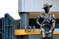 The gold miner statue at the square in uptown Charlotte, NC.