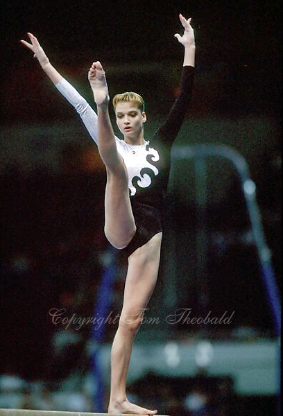 July 25, 1998; New York, NY, USA; Artistic gymnast Svetlana Khorkina of Russia performs balance beam at 1998  Goodwill Games New York. Copyright 1998 Tom Theobald