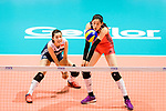 Xiaotong Liu of China (R) passes the ball during the FIVB Volleyball Nations League Hong Kong match between China and Argentina on May 29, 2018 in Hong Kong, Hong Kong. Photo by Marcio Rodrigo Machado / Power Sport Images