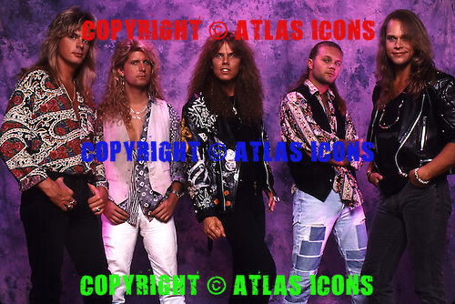 Europe, Joey Tempest, John Levén, Mic Michaeli, Ian Haugland, Kee Marcello; 1991 Studio Session.Photo Credit: Eddie Malluk/Atlas Icons.com