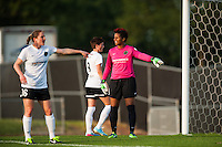 Portland Thorns goalkeeper Karina LeBlanc (1) directs traffic prior to a Sky Blue FC free kick. Sky Blue FC and the Portland Thorns played to a 0-0 tie during a National Women's Soccer League (NWSL) match at Yurcak Field in Piscataway, NJ, on June 22, 2013.