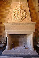 Fireplace in the 14th century medieval palace of the Grand Master of the Kinights of St John, Rhodes, Greece. UNESCO World Heritage Site