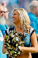 January 01, 2012:  Jacksonville Jaguars cheerleaders perform during a time out of the game between the Jacksonville Jaguars and the Indianapolis Colts played at EverBank Field in Jacksonville, Florida.  Jacksonville defeated Indianapolis 19-13........