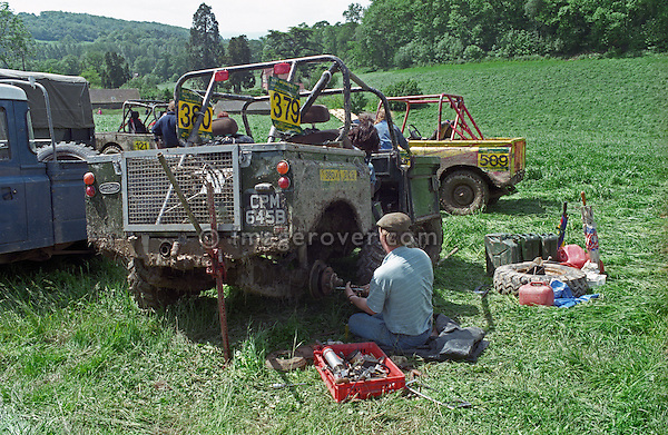 Repairing a Land Rover Series 2 off-road racer at the 1993 A.R.C. National Rally. The Association of Rover Clubs (A.R.C., since 2006 the Association of Land Rover Clubs ALRC) National Rally is the biggest annual motor sport oriented Land Rover event and was hosted 1993 by the Midland Rover Owners Club at Eastnor Castle in Herefordshire. --- No releases available. Automotive trademarks are the property of the trademark holder, authorization may be needed for some uses.