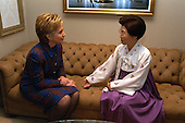 First Lady Hillary Rodham Clinton meets with Lee Hee-ho, wife of President Kim Dae Jung of South Korea, at the White House in Washington, D.C. on February 3, 2000..Credit: Ralph Alswang / White House via CNP