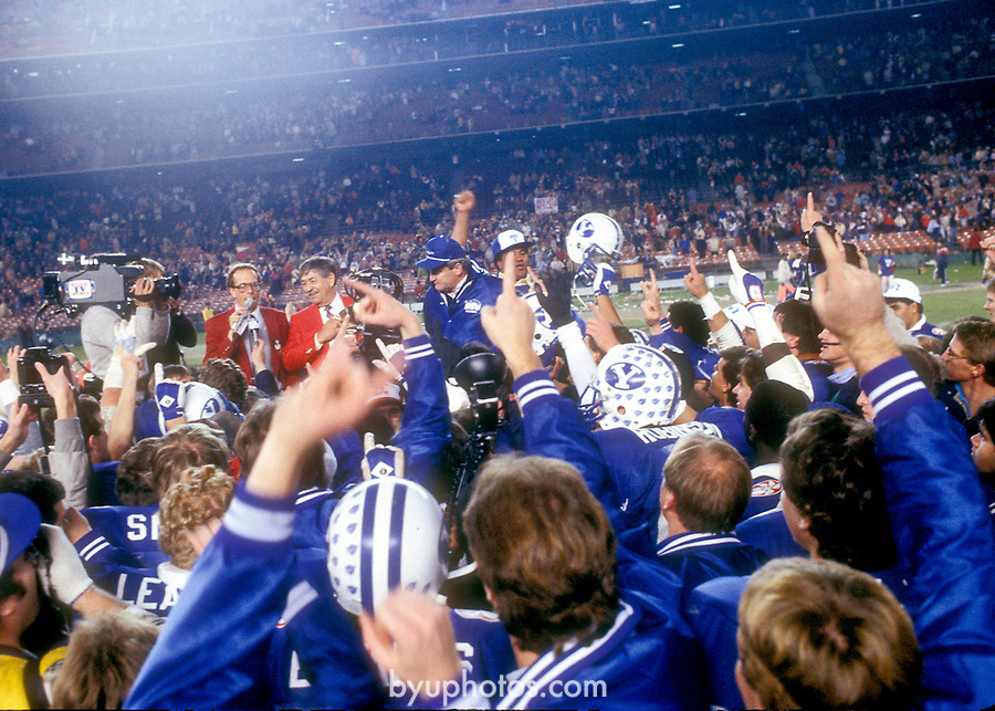 FTB 1984 1104<br /> BYU Team Celebrates after Miracle Bowl Game. Coach LaVell Edwards.<br /> <br /> Photo by Mark Philbrick/BYU<br /> <br /> &copy; BYU PHOTO 2009<br /> All Rights Reserved<br /> photo@byu.edu  (801)422-7322