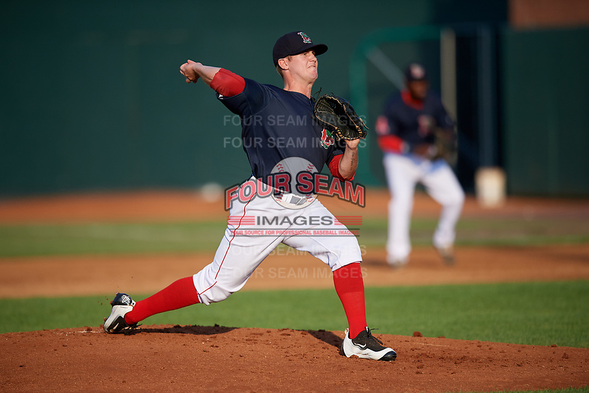 Lowell Spinners relief pitcher Taylor Ahearn (43) delivers a pitch during a game against the Vermont Lake Monsters on August 25, 2018 at Edward A. LeLacheur Park in Lowell, Massachusetts.  Vermont defeated Lowell 4-3.  (Mike Janes/Four Seam Images)