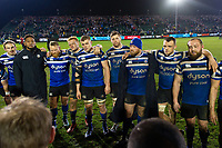 Bath Rugby players huddle together after the match. Gallagher Premiership match, between Bath Rugby and Saracens on March 8, 2019 at the Recreation Ground in Bath, England. Photo by: Patrick Khachfe / Onside Images