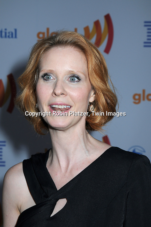 Cynthia Nixon posing for photographers at The 21st Annual GLAAD Media Awards on March 13, 2010 at The Marriott Marquis Hotel in New York City. The Honorees were Joy Behar and Cynthia Nixon.