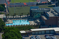 aerial photograph of the University of Tennessee Aquatics Center, Knoxville, Knox County, Tennessee; in the background, the Tom Black Track at Laporte Stadium.