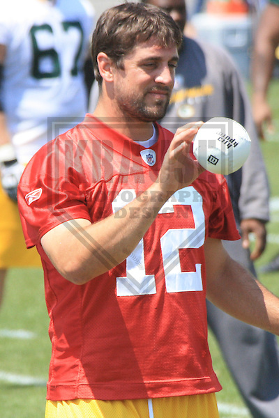 GREEN BAY - JUNE 2010: Aaron Rodgers (12) of the Green Bay Packers during mini-camp on June 22, 2010 at Ray Nitschke Field in Green Bay, Wisconsin. (Photo by Brad Krause)