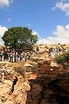 Israel, Upper Galilee, Rappelling in Keshet Cave