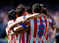 Atletico's team celebrate goal during La Liga BBVA match. April 14, 2013.(ALTERPHOTOS/Alconada)