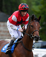 Midnight Mood ridden by Liam Keniry goes down to the start during Ladies Evening Racing at Salisbury Racecourse on 15th July 2017