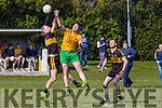 Seamus Scanlon Currow and Dan Murphy Gneeveguilla contest the kick out during their KCL D3 clash in Currow on Sunday