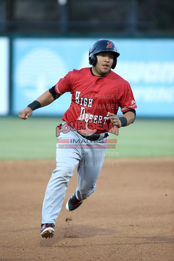 Jose Trevino (5) of the High Desert Mavericks runs the bases during a game against the Lake Elsinore Storm at The Diamond on April 27, 2016 in Lake Elsinore, California. High Desert defeated Lake Elsinore, 10-2. (Larry Goren/Four Seam Images)