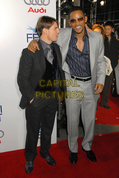 "TOM CRUISE & WILL SMITH.AFI FEST 2007 Opening Night Gala Premiere of ""Lions for Lambs"" at the Cinerama Dome, Hollywood, California, USA..November 1st, 2007.full length grey gray suit sunglasses shades goatee facial hair blue striped stripes shirt hand over shoulder profile.CAP/ADM/BP.©Byron Purvis/AdMedia/Capital Pictures."