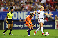 Atlanta, GA - Sunday Sept. 18, 2016: Sherida Spitse, Emily Sonnett during a international friendly match between United States (USA) and Netherlands (NED) at Georgia Dome.