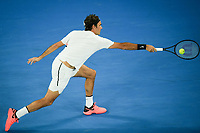 January 28, 2018: Number two seed Roger Federer of Switzerland in action in the Men's Final against number six seed Marin Cilic of Croatia on day fourteen of the 2018 Australian Open Grand Slam tennis tournament in Melbourne, Australia. Photo Sydney Low