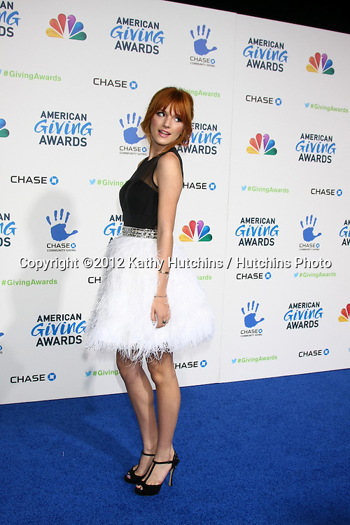 LOS ANGELES - DEC 7:  Bella Thorne arrives to the 2012 American Giving Awards at Pasadena Civic Center on December 7, 2012 in Pasadena, CA