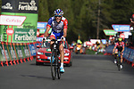 Thibaut Pinot (FRA) Groupama-FDJ leads Red Jersey Simon Yates (GBR) Mitchelton-Scott on the final climb of Stage 19 of the La Vuelta 2018, running 154.4km from Lleida to Andorra, Naturlandia, Andorra. 14th September 2018.                   <br /> Picture: Colin Flockton | Cyclefile<br /> <br /> <br /> All photos usage must carry mandatory copyright credit (© Cyclefile | Colin Flockton)