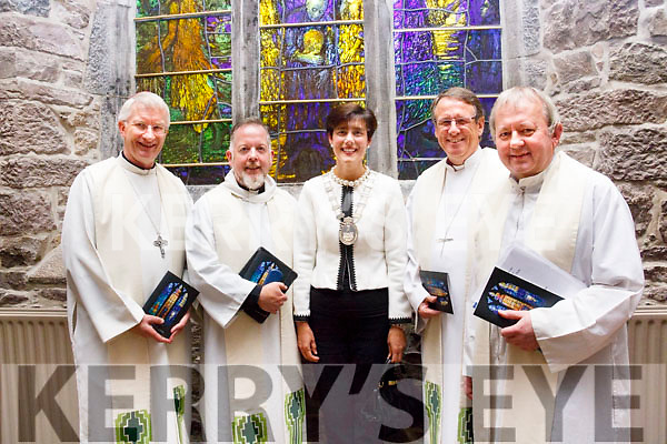 Attending the ceremony of St John's Church Reconciliation Window following a special mass on Friday last.  L to R:  Bishop Ray Browne (Bishop of Kerry), Dr David Monteith (Dean of Leicester Cathedral), Cllr Norma Foley (Mayor of Kerry), Bishop Kenneth Kearon (Church of Ireland) and Fr Tadgh Fitzgerald.