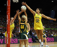 17.10.2012 Australia's Mo'onia Gerrard and South Africa's Maryka Holtzhausen in action during the Australia v South Africa netball test match as part of the Quad Series played in Newcastle Australia. Mandatory Photo Credit ©Michael Bradley.