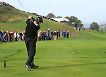 Padraig Harrington drives off on the 16th tee in the Day 2 session of the overnight Fourball Match 4 during Day 1 of the The 2010 Ryder Cup at the Celtic Manor, Newport, Wales, 29th September 2010..(Picture Eoin Clarke/www.golffile.ie)