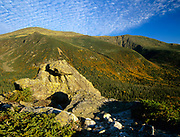 Mount Washington from Boott Spur Trail in Sargent's Purchase of the White Mountains, New Hampshire during the autumn months. Tuckerman Ravine is on the left and Huntington Ravine on right. Mt Washington is the highest peak in the Northeast.