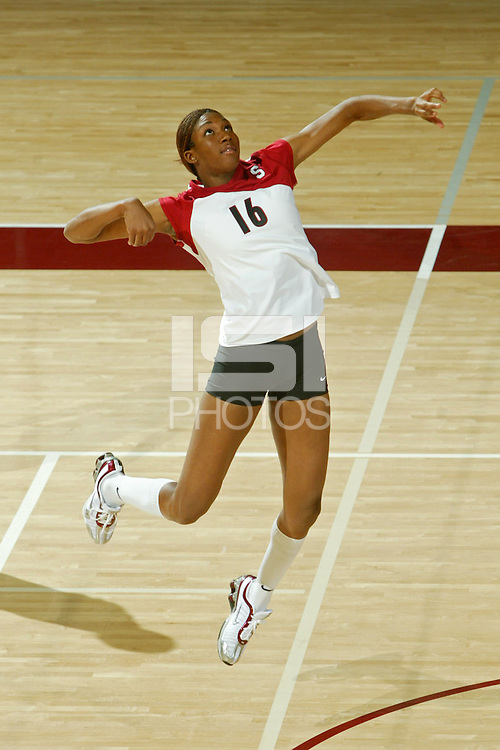 11 August 2005: Stanford women's volleyball player Foluke Akinradewo on picture day at Maples Pavilion in Stanford, CA.
