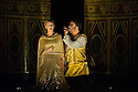 London, UK. 15.10.2014. English Touring Opera presents OTTONE, by George Frideric Handel, directed by James Conway, at the Hackney Empire. Picture shows:  Louise Kemeny (Teofane) and Andrew Radley (Adelberto). Photograph © Jane Hobson.