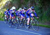 The Waikato Diocesan u20 girls team in action during the NZ Schools Road Cycling championship day one team time trials at Koputaroa Road near Levin, New Zealand on Saturday, 30 September 2017. Photo: Dave Lintott / lintottphoto.co.nz