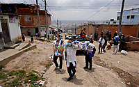 SOACHA, COLOMBIA - APRIL 15: Local government workers deliver food to the community during the mandatory preventive quarantine to prevent the spread of the new coronavirus in Soacha Colombia on April 15, 2020. Soacha's mayor visited the slums of the town handing out baskets of food to help families in difficult financial times due to Covid-19 pandemic. (Photo by Leonardo Munoz/VIEWpress via Getty Images)